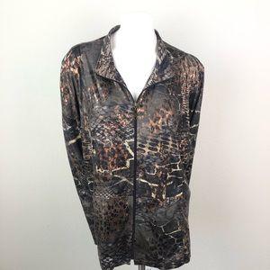 Susan Graver Brown Animal Print Zip Up Jacket